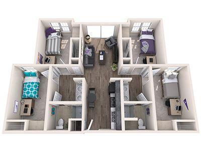 Papago Apartment Floorplan Dorm Layout Sims House Design