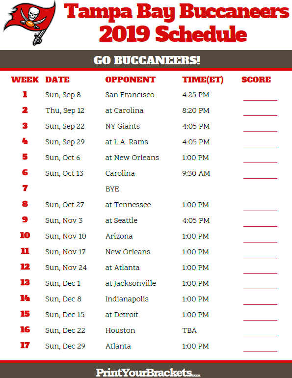 photograph about Patriots Printable Schedule identify Printable Tampa Bay Buccaneers Plan - 2019 Year