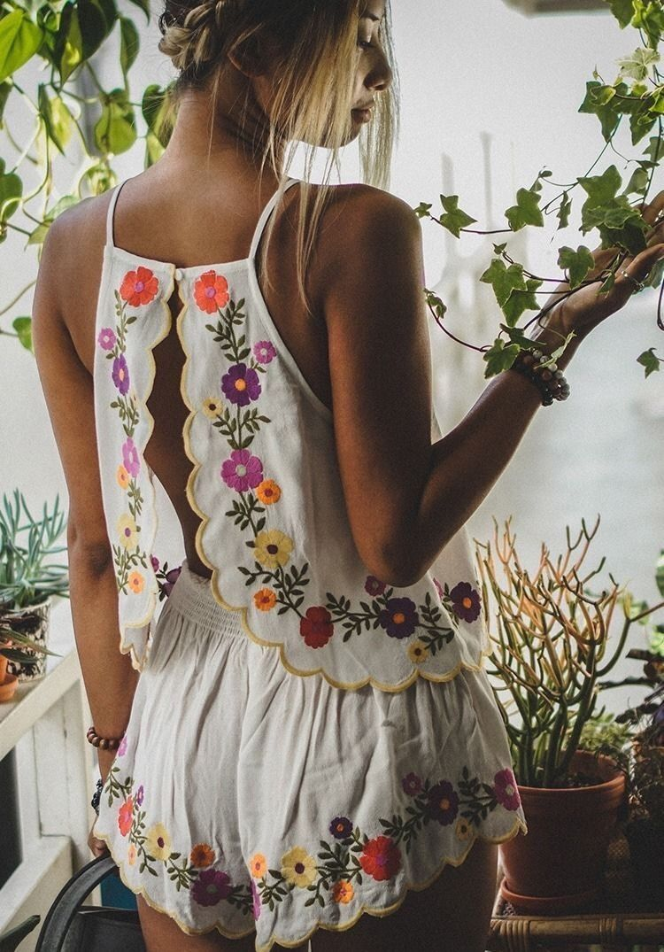Embroidered floral romper funky pinterest floral