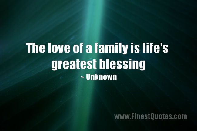 Family The Love Of A Family Is Life S Greatest Blessing Unknown