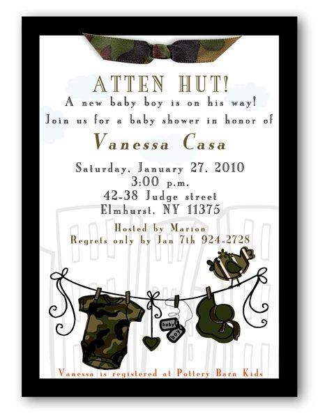 Attn Hut Camouflage Baby Shower Invitations Boy