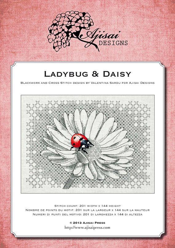 Ladybug & Daisy Blackwork and Cross Stitch by AjisaiDesigns