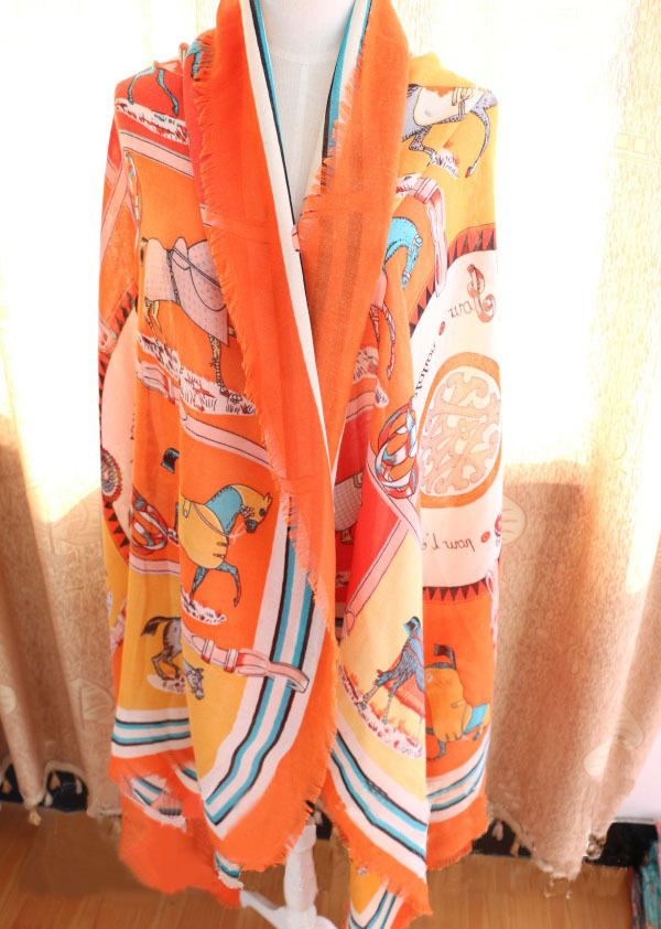 Morpheus Boutique  - Orange Horse Pattern Cotton Designer Shawl Long Scarf Wrap, CA$30.76 (http://www.morpheusboutique.com/new-arrivals/orange-horse-pattern-cotton-designer-shawl-long-scarf-wrap/)