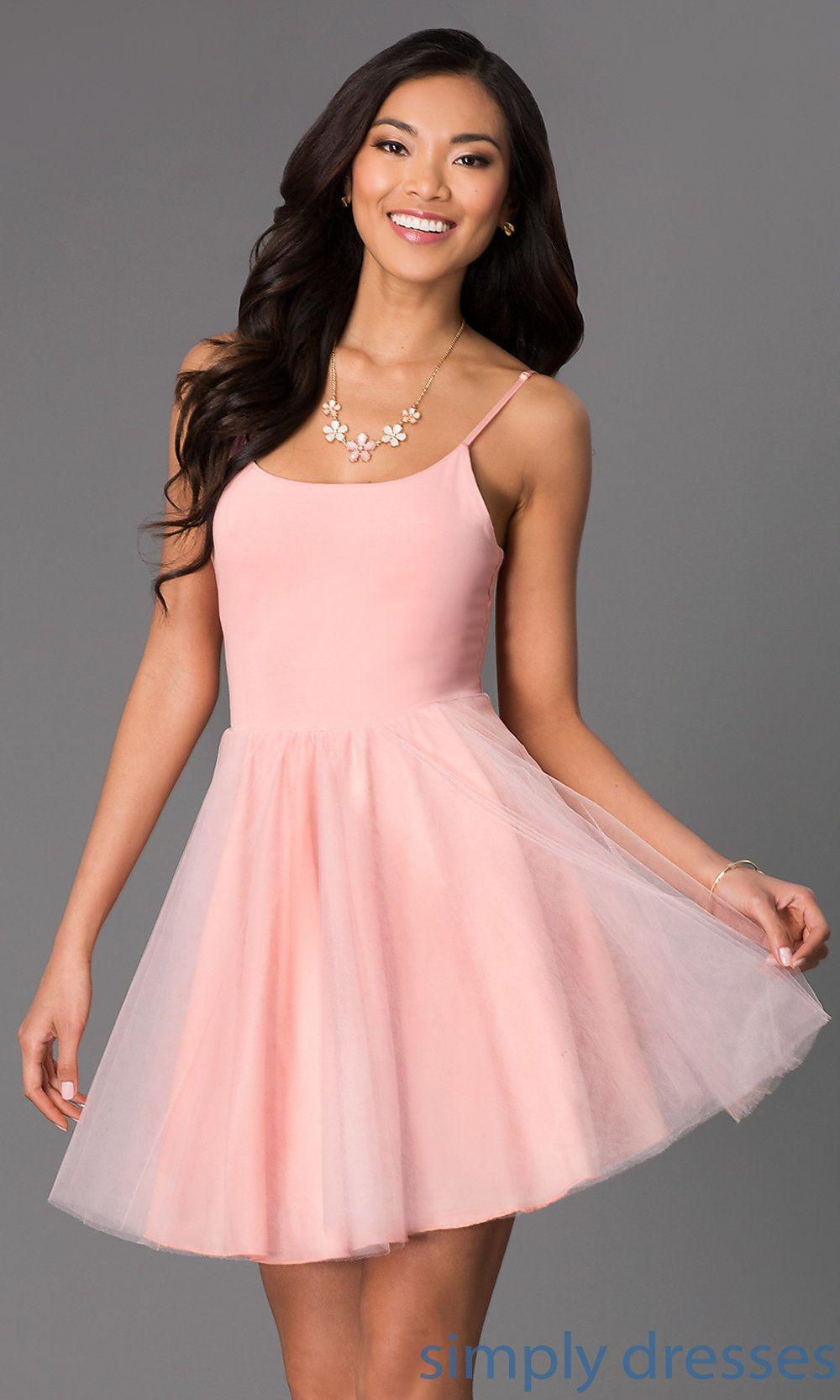 Dress, Short Spaghetti Strap Scoop Neck Dress by Emerald Sundae ...