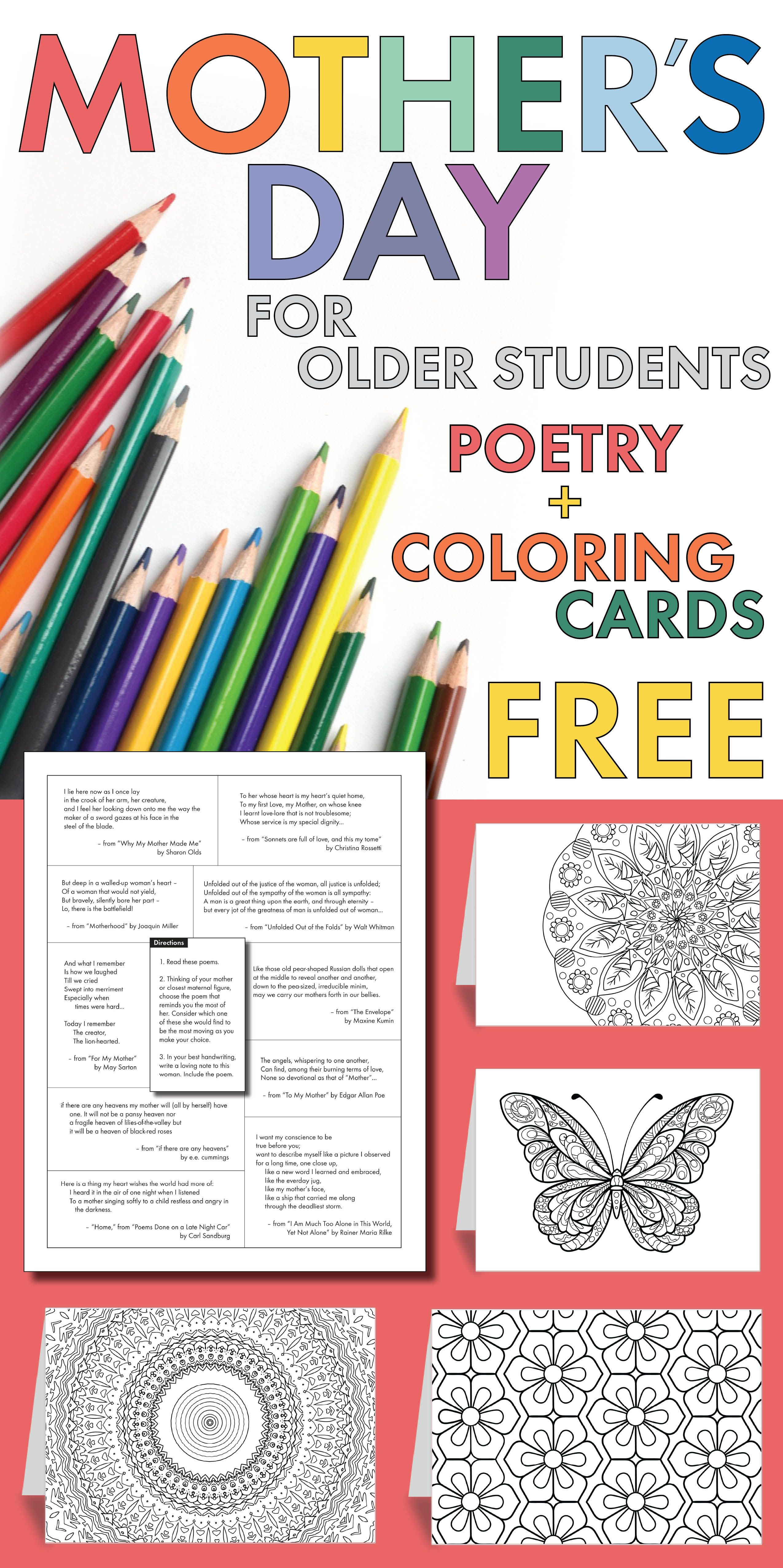free poetry lesson mother s day card poetry for older students teens sub plan high school. Black Bedroom Furniture Sets. Home Design Ideas