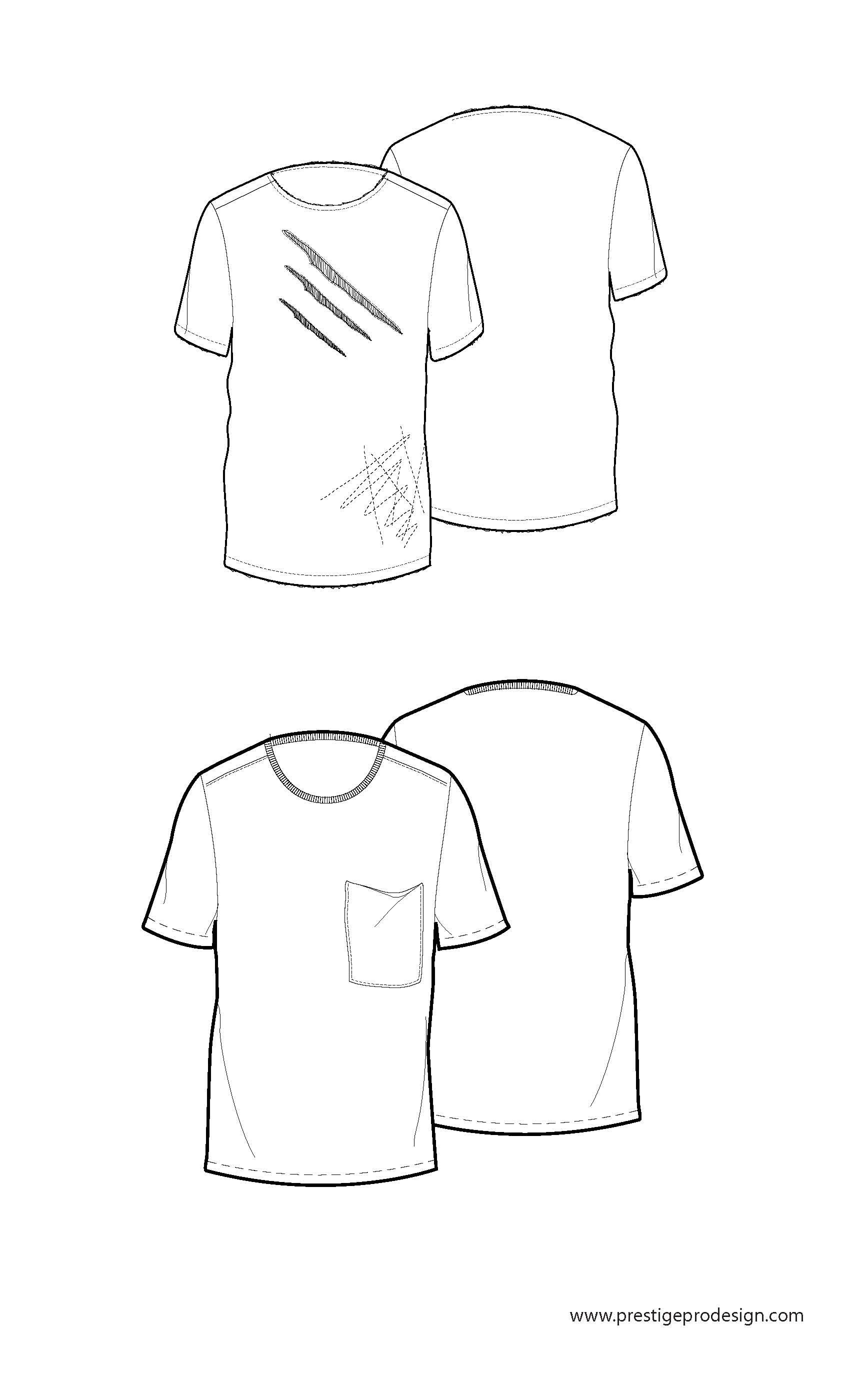 Crew Neck Fashion Design Template Flat Sketches Drawing Clothes Technical Pattern