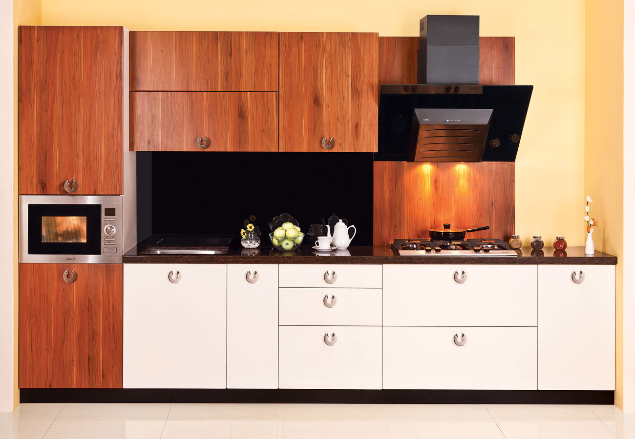 Modular Kitchen Furniture Modular Kitchen Design With Natural Wood Theme Kbhomes Home