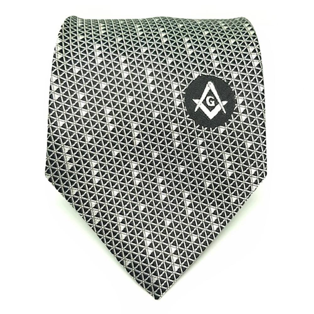 Purple Square Compass on White Masonic Necktie Blue Lodge Freemason NEW!