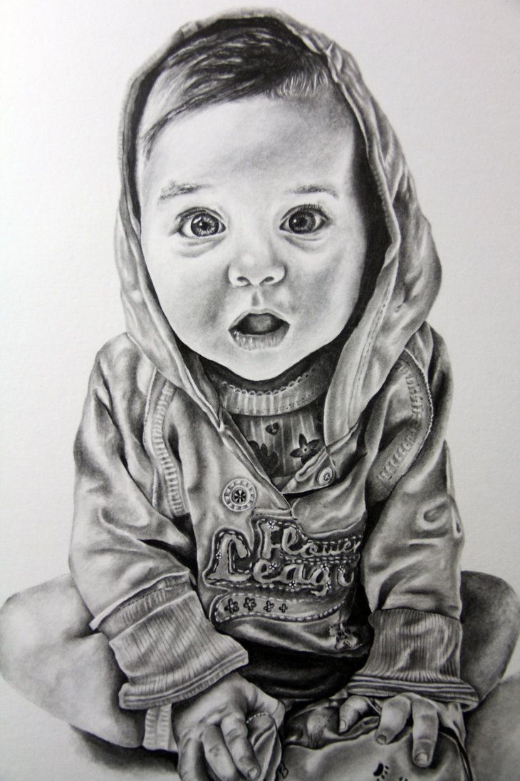 For Sale Realistic Baby Portrait In Graphite Pencil On White