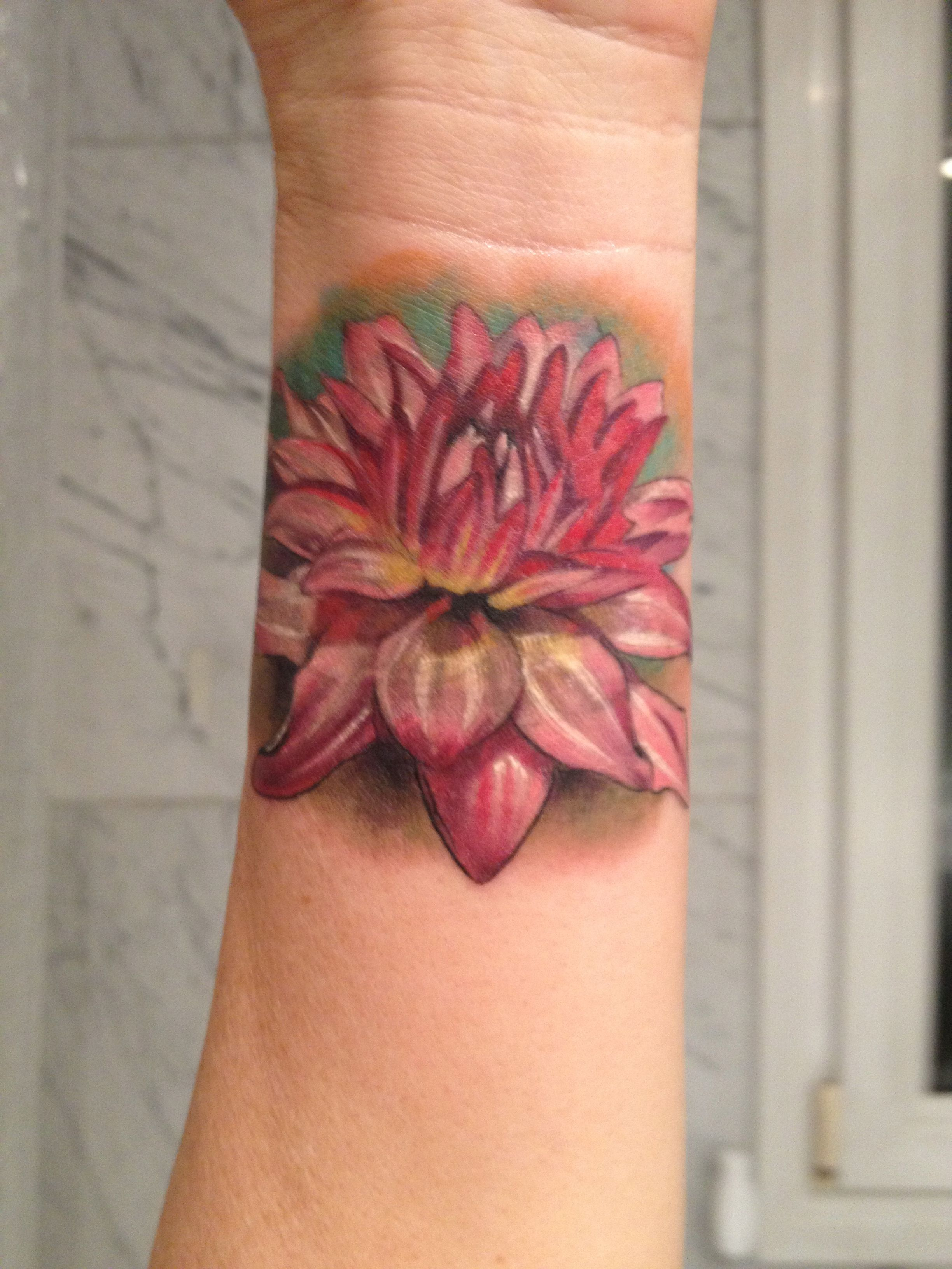 Dahlia Flower Tattoo By Laura Juan Madrid Spain Almost Too