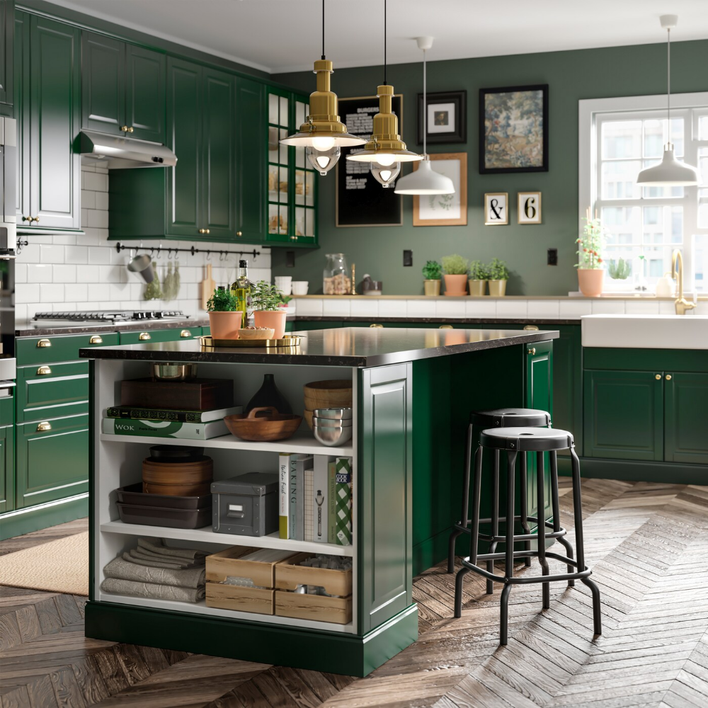 A Green And Fresh Bodbyn Kitchen Dark Green Kitchen Green Kitchen Island Green Kitchen Cabinets