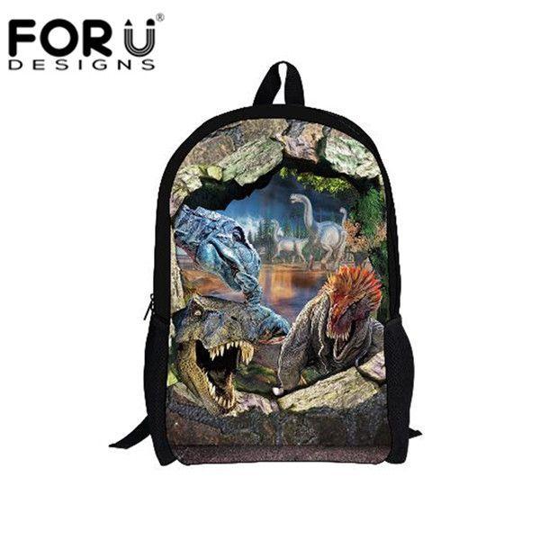 FORUDESIGNS 3D Animal Portfolios School Bags Disnosaur Tiger Horse Bookbags For Teenagers Boys Kindergarten Child Shoulder Bag