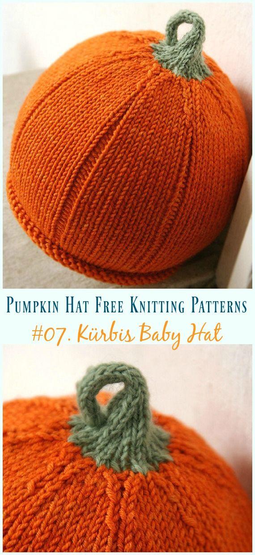 Pumpkin Hat Free Knitting Patterns [Baby To Adults] | stricken ...