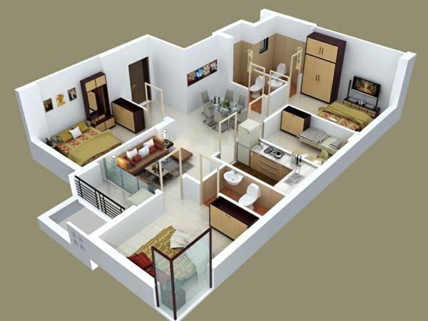 Casa con cuatro habitaciones casa pinterest planos - Diseno de habitaciones pequenas ...