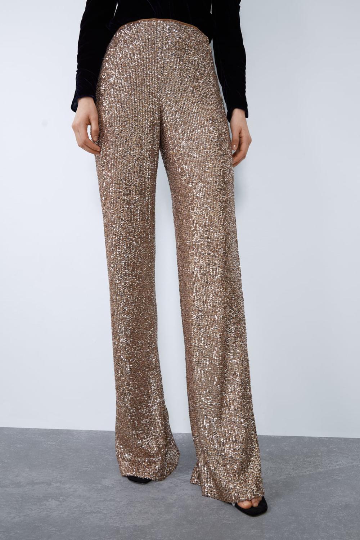 Pantalones Trf Nueva Coleccion Online Zara Espana Schlaghose Pailletten Hose Hosen
