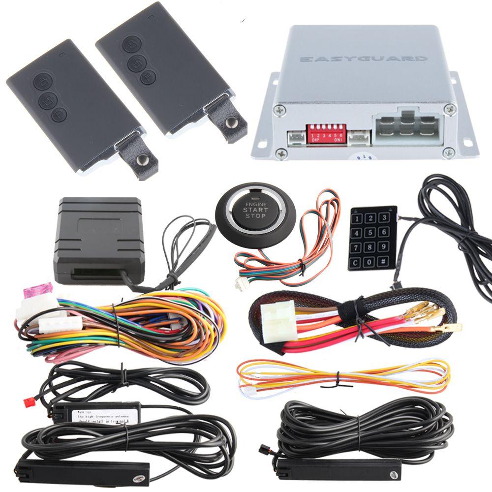 Remote engine start PKE car alarm system with push start