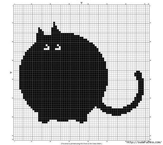 Схема вышивки крестом кошка монохром