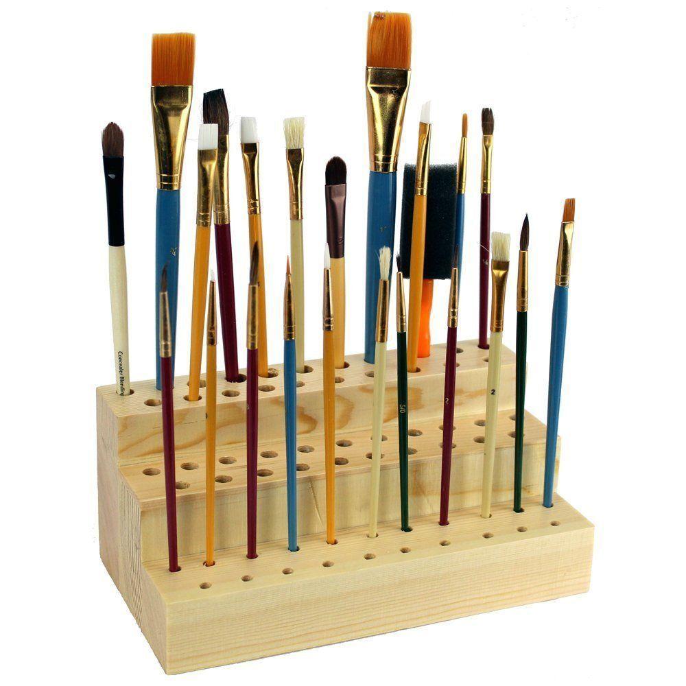 Ikee Design Wooden Cosmetic Makeup Brush Organizer