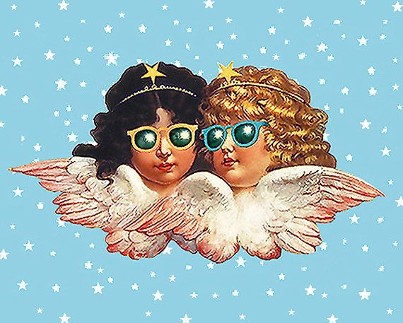 FIORUCCI • Angels With Sunglasses Poster • VERY RARE • 'Blue Sky' Version • Highly Collectible !!! •