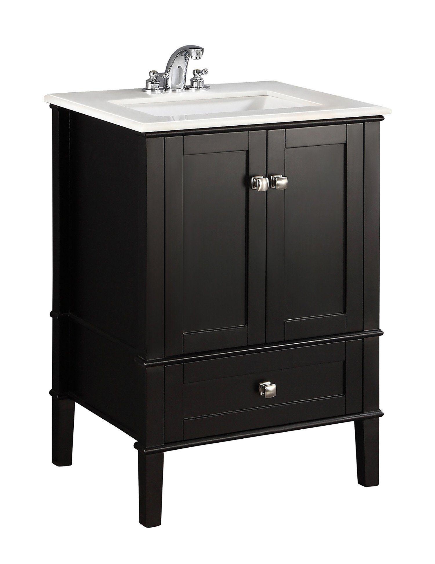 Chelsea 24 Inch Bath Vanity With White Engineered Quartz Marble