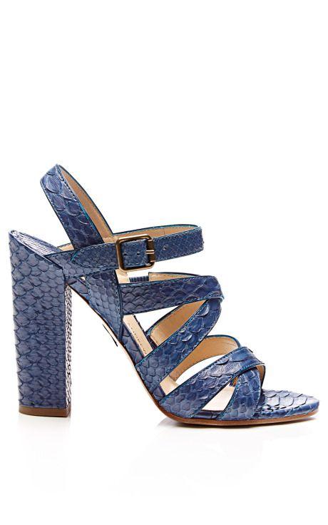5309b80144e5 M O Exclusive  Lotus Snakeskin Block-Heel Sandals by Paul Andrew - Moda  Operandi