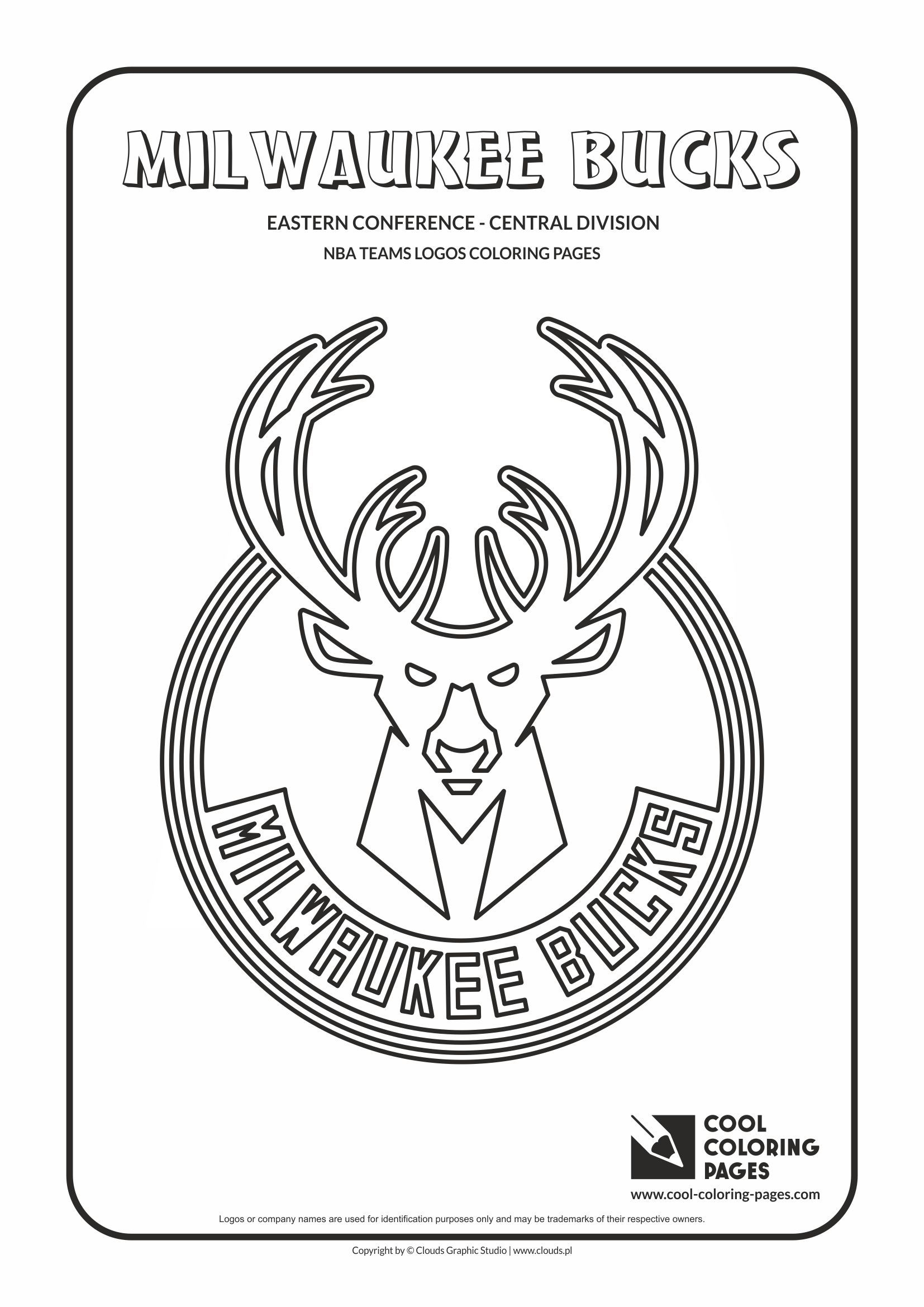 cool coloring pages nba teams logos milwaukee bucks