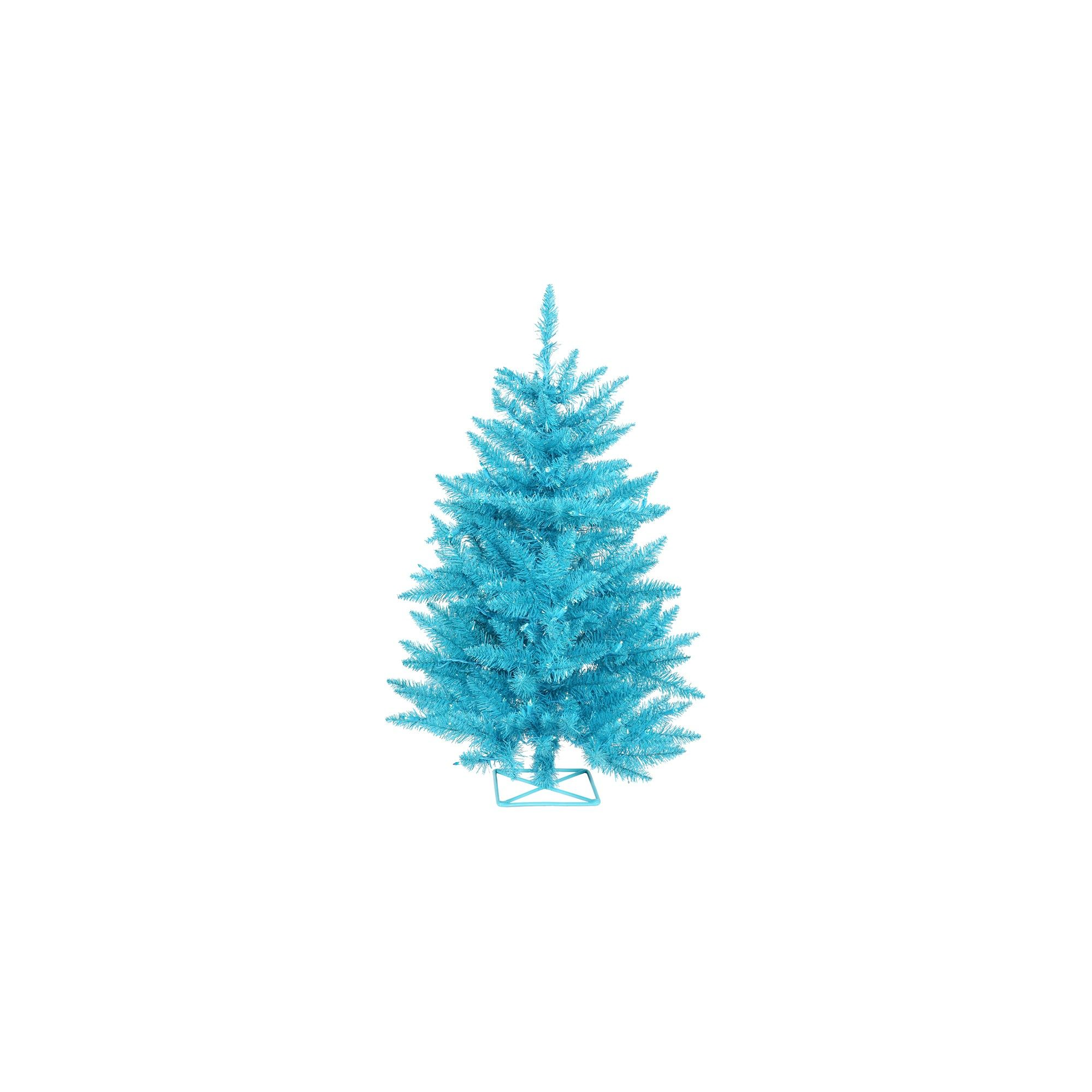2ft PreLit Artificial Christmas Tree with Plastic Tree