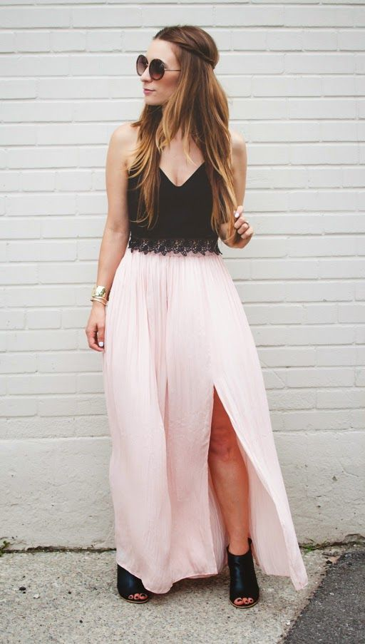 8e44bf5cc53 OOTD - Blush Maxi Skirt and Black Lace Crop Top | Style. | Prom ...