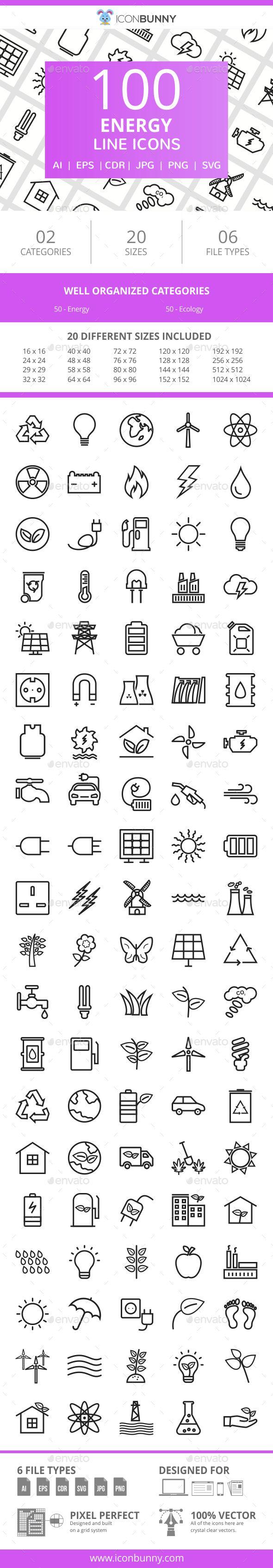 100 Energy Line Icons Line Icon Icon Anatomy