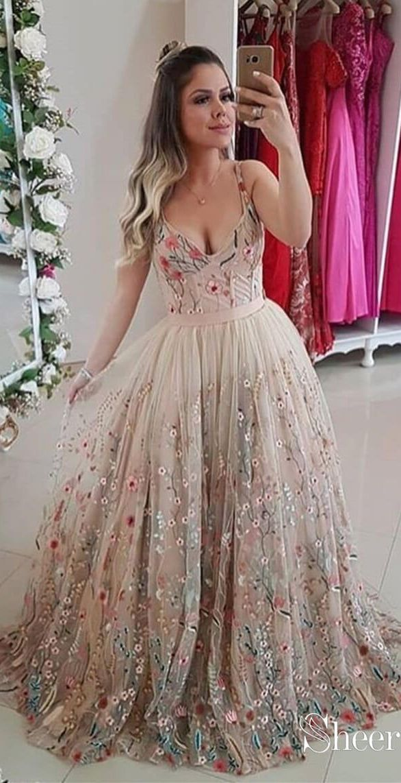 10c79ef6a6f Spaghetti Strap Floral Embroidery Prom Dresses Long Formal Dress ARD1896 in  2019
