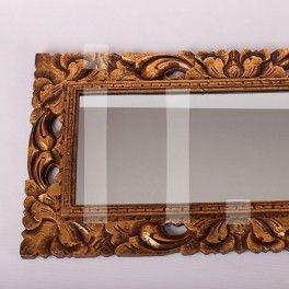 Espejo madera dorado referencia esp 002 espejo de pared for Espejo rectangular con marco de madera