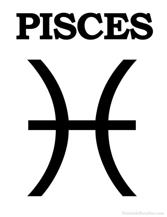 Printable Pisces Zodiac Sign - Print Pisces Symbol ...