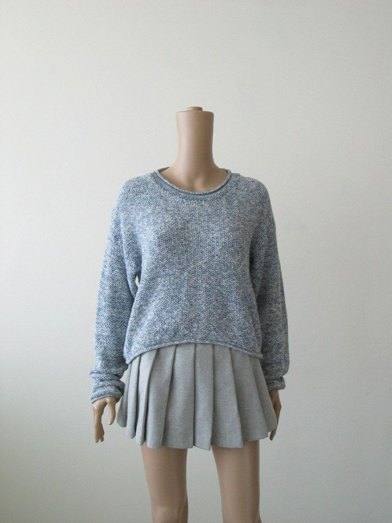 Crop Sweater 80s 90s Heather Blue Pale Blue Elongated Sleeves ...