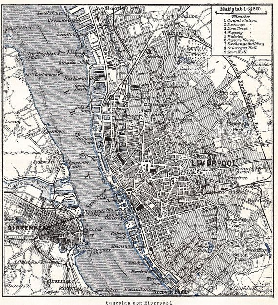 1895 City Map of Liverpool in the 19th Century  by Maptimistic, $11.90