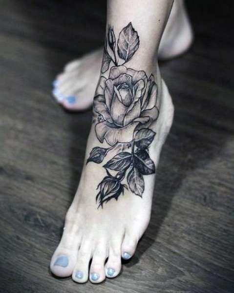 Tatuaze Roza Na Stopie Tattoos Rose Tattoo Foot Foot Tattoos