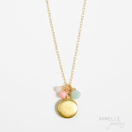round vintage locket necklace: blue, pink, coral by armelle jewelry