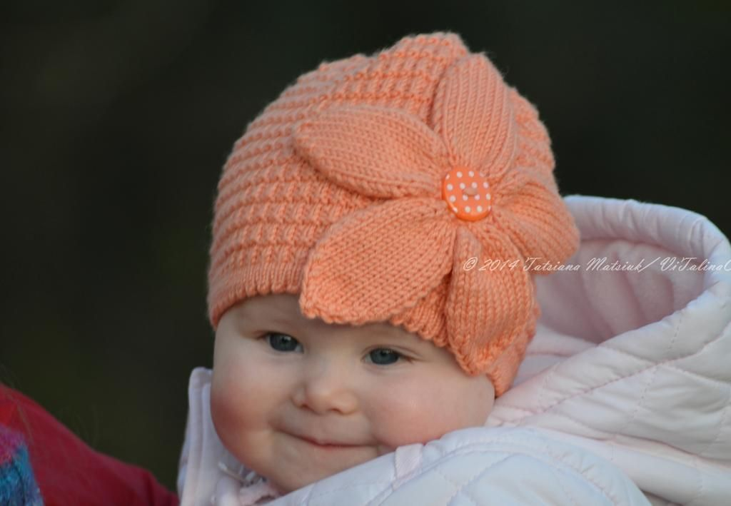Peach flower hat flower hats baby hats and knitting patterns baby hats knitting dt1010fo
