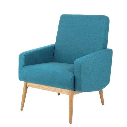 fauteuil vintage bleu pétrole kelton | maisons du monde | maison