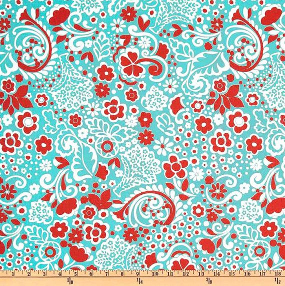 Jenn Twill Harmony and Red Fabric One Yard Premier