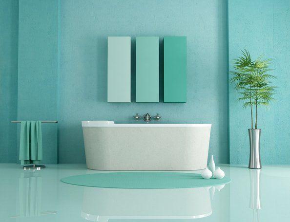 26 intérieurs en couleur Blue green bathrooms, Bath and Interiors - Repeindre Du Carrelage De Salle De Bain