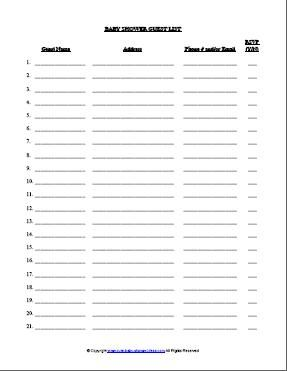 FREE Baby Shower Simple Guest List Template