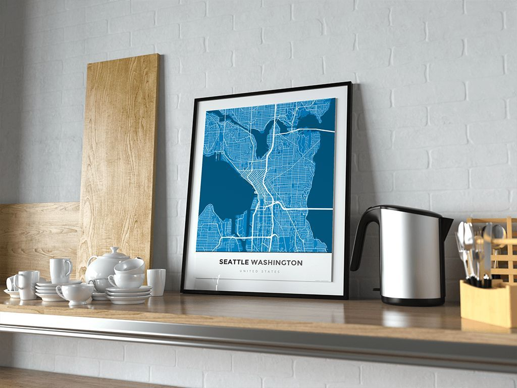 Premium Map Poster of Seattle Washington - Simple Blue Contrast - Unframed - Seattle Map Art