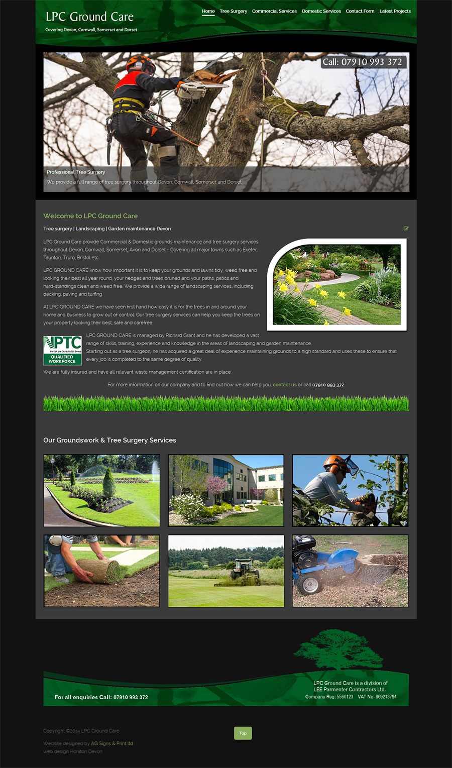 New website for landscape gardening company in Exeter