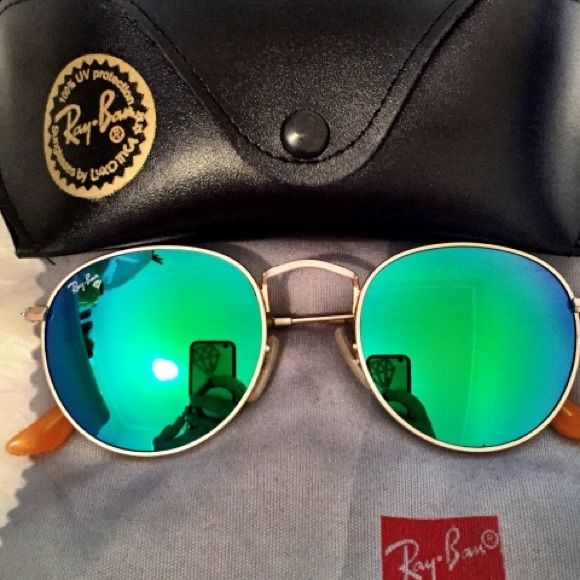 ae87516f9255aa Authentic 3447 blue green round Ray-ban sunglasses Brand new Ray-ban ...