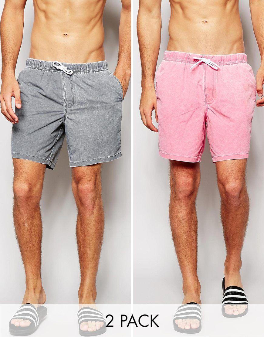 ASOS+Swim+Shorts+In+Mid+Length+Acid+Wash+2+Pack+SAVE+18%