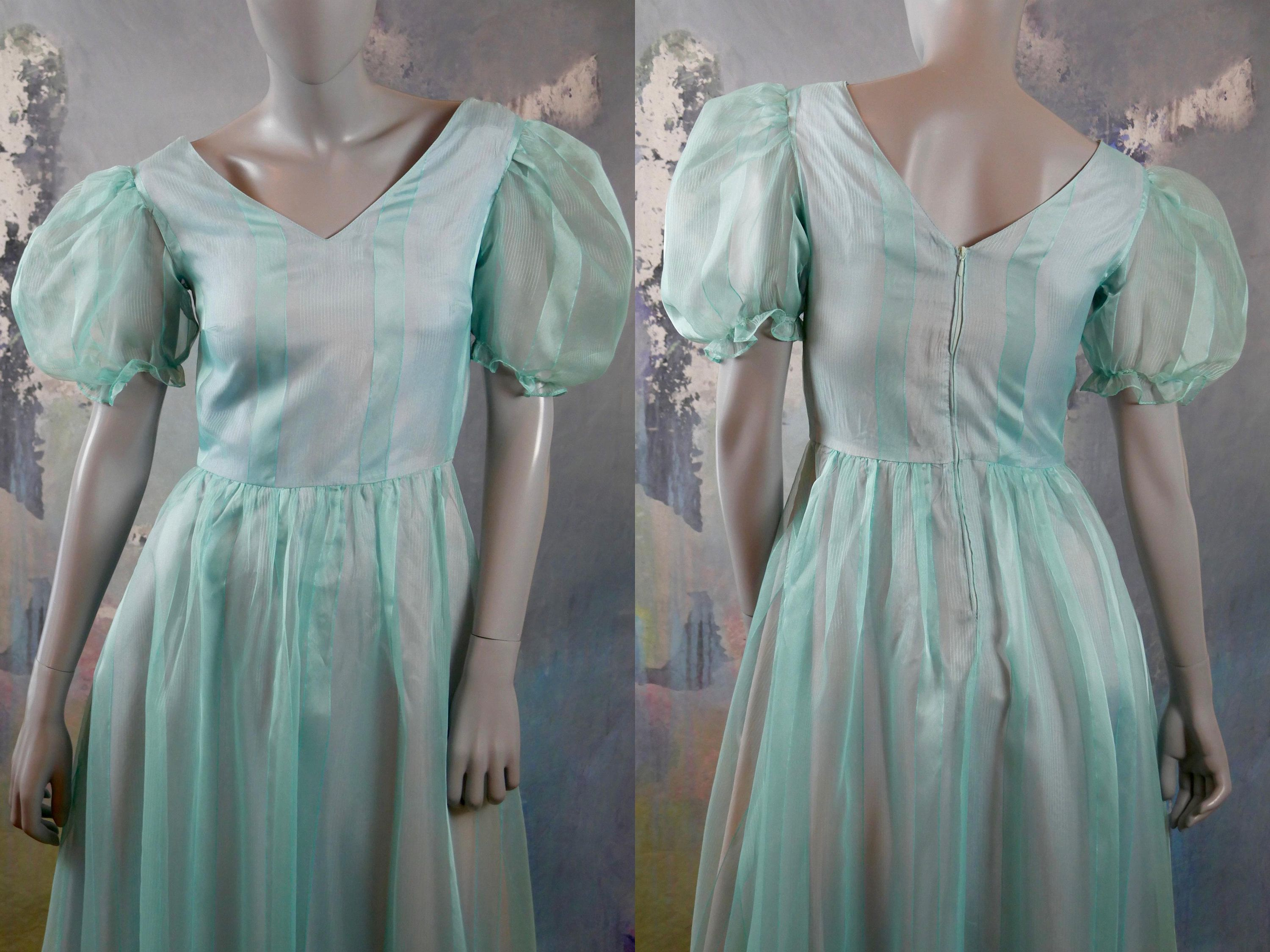 1970s Turquoise Prairie Style Prom Dress Sheer W Vertical Etsy Sheer Dress Vintage Clothes Women Vintage Clothes Shop [ 2250 x 3000 Pixel ]