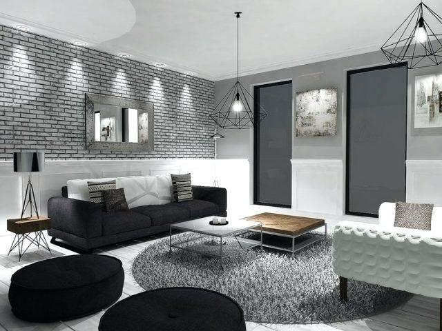 idee deco salon noir et blanc gris