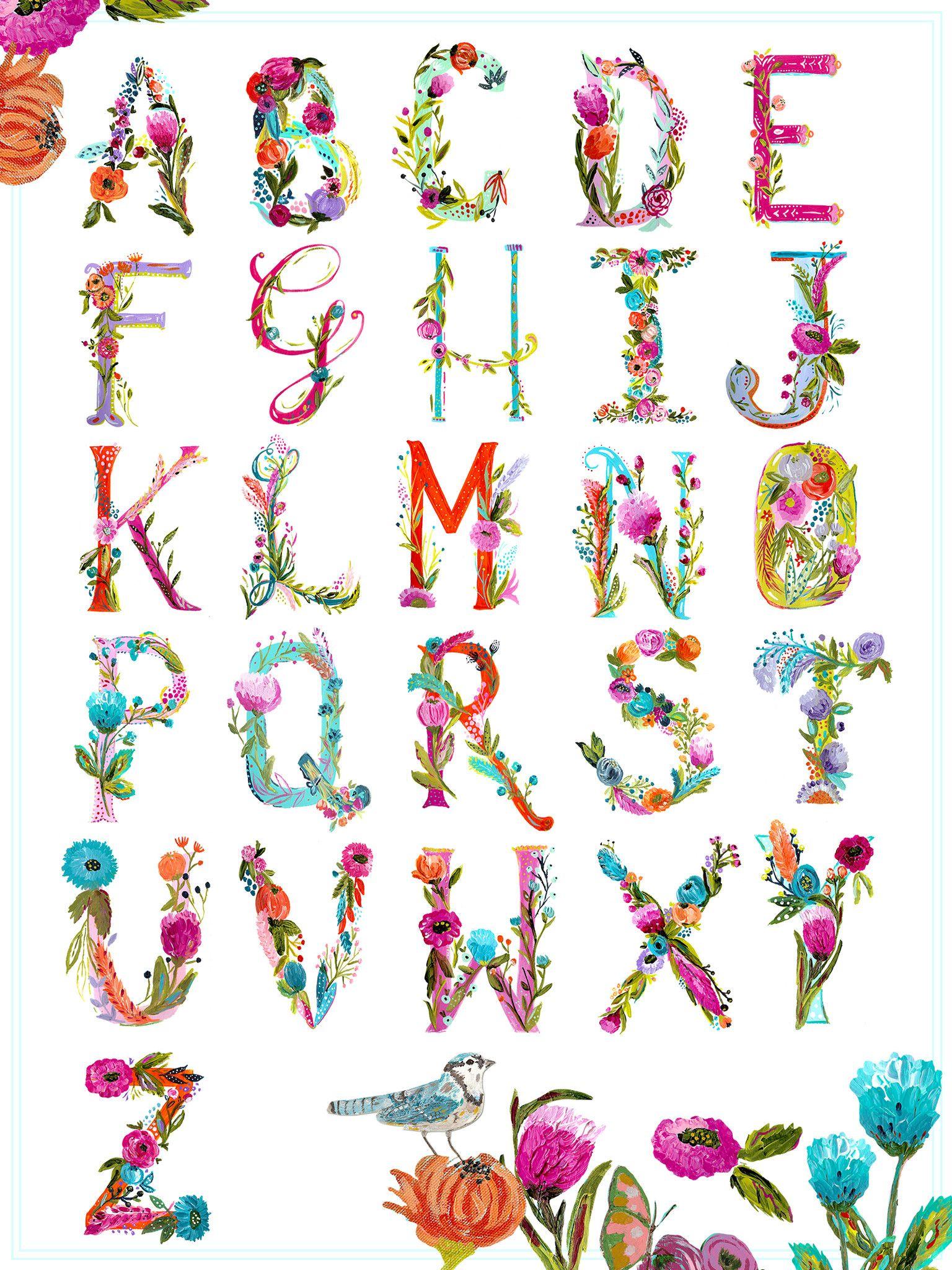 Painted Alphabet Chart Print