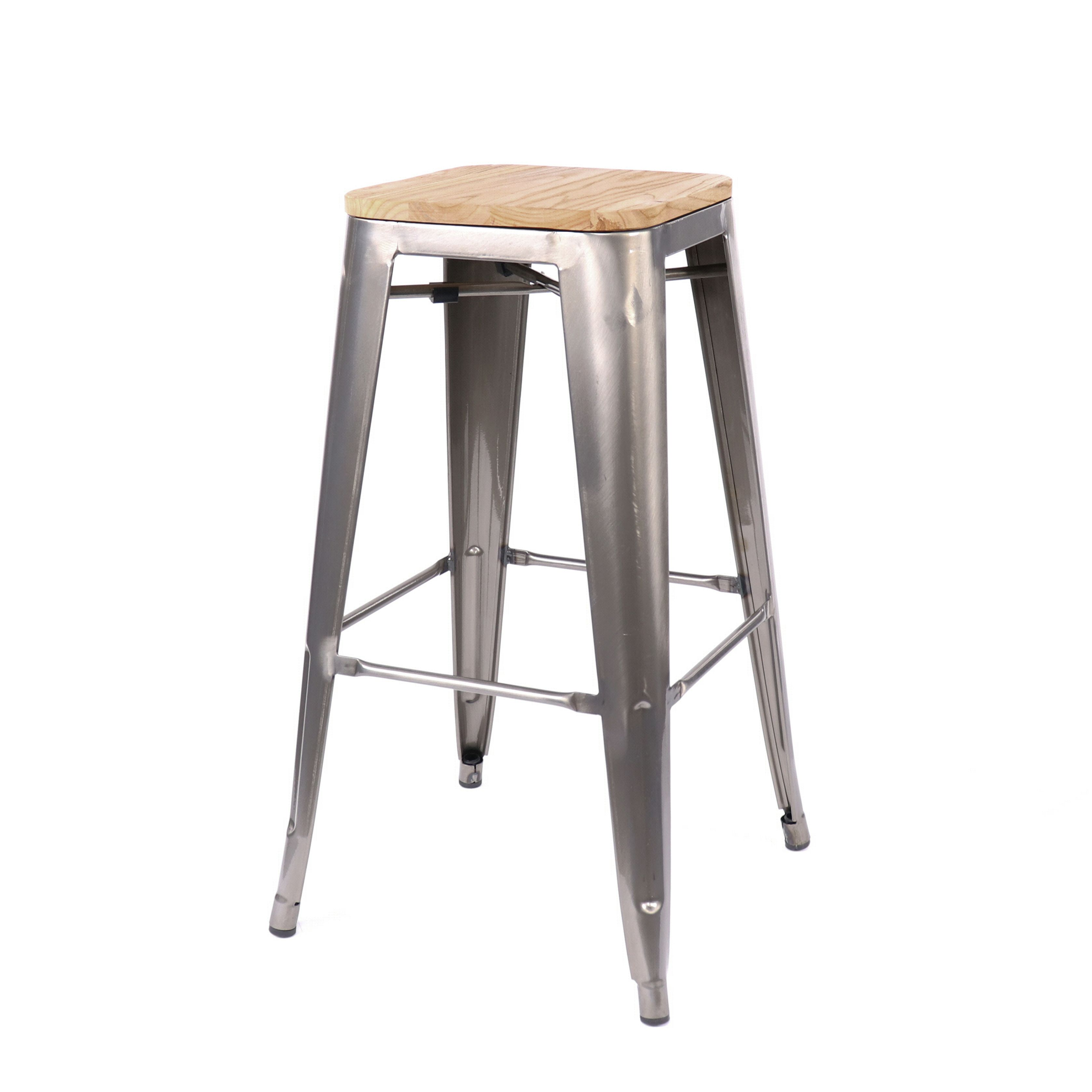 Fabulous Dreux Gunmetal Light Elm Wood Steel Stackable Barstool 30 Theyellowbook Wood Chair Design Ideas Theyellowbookinfo