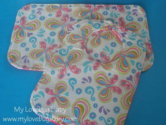 SALE  Butterfly Baby Bib & Burp Cloth Set by MyLovebugBaby on Etsy, $8.00